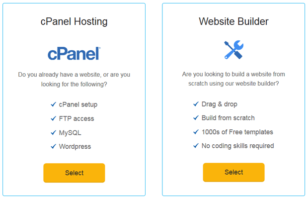 ehost choose website builder