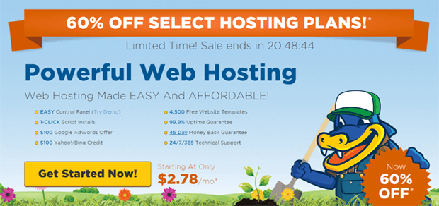 hostgator coupon 60 off earth day