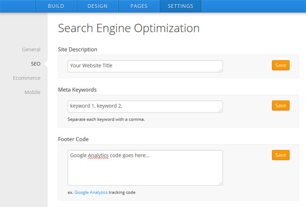 ipage website builder settings seo
