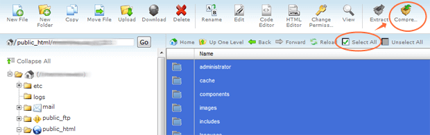 cpanel file manager compress files joomla