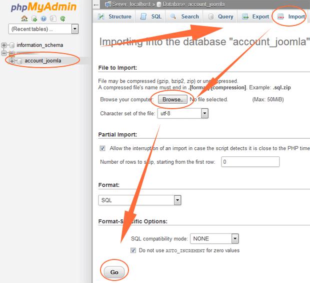 phpmyadmin import joomla database