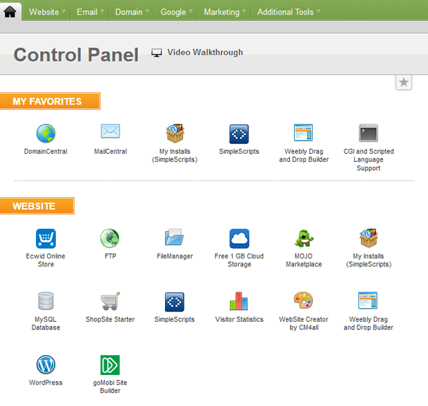ipage control panel screenshot vdeck vs cpanel
