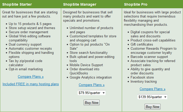 ipage shopsite plans comparison