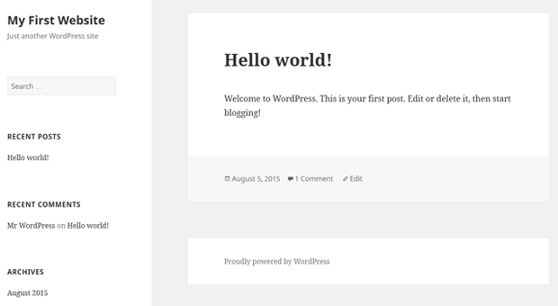 change wordpress default theme