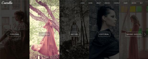 camilla portfolio photographer theme wordpress