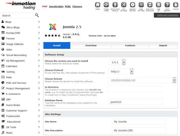 install joomla with softaculous