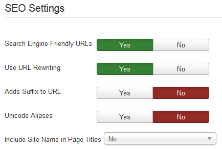joomla website seo settings