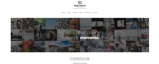 photographer minimalist design wordpress theme