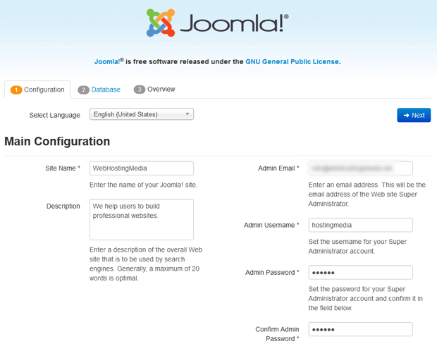 step1 joomla configuration