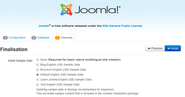 step3 install joomla sample data