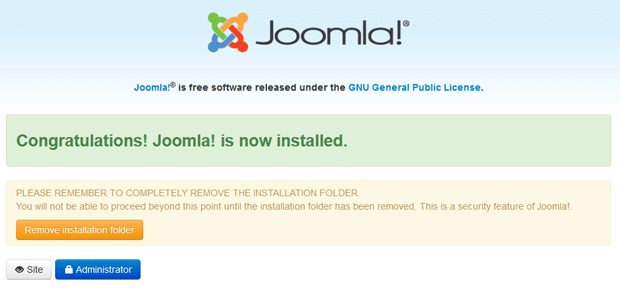 step5 remove installation folder joomla