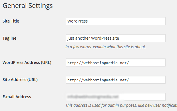 wordpress change general settings title and tag line