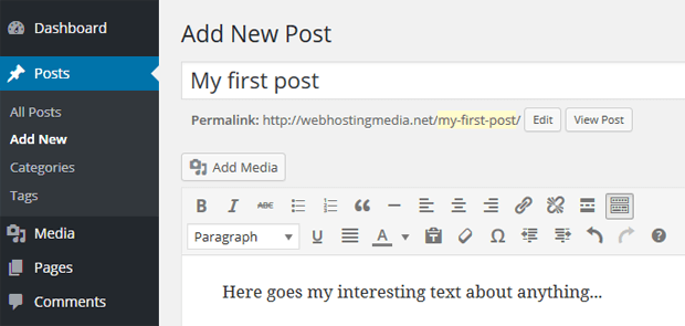 wordpress create category posts pages