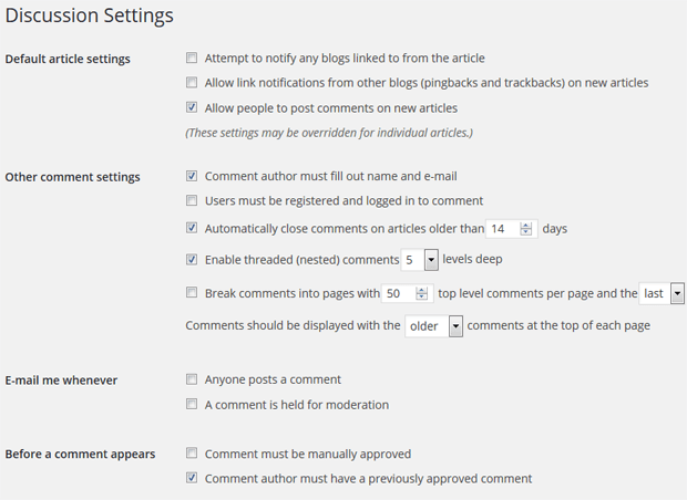 Changing comment notification settings in WordPress