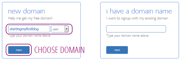 bluehost choose a domain name for free