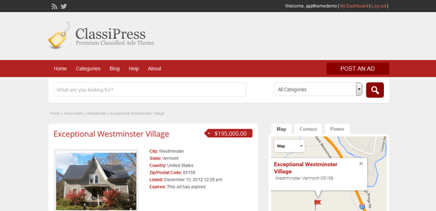 classipress real estate wordpress theme