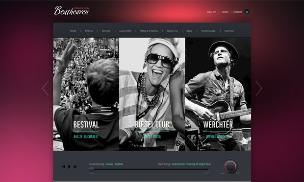 beatheaven musician website wordpress theme