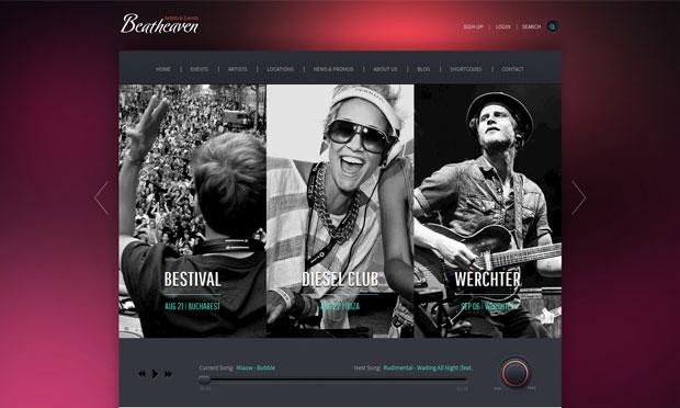 beatheaven musician website wordpress theme