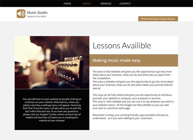 music studio website example