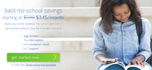 bluehost back to school special discount