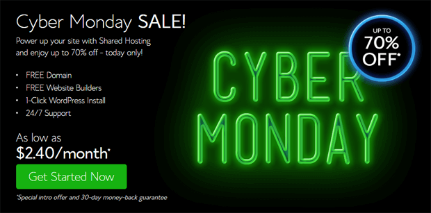 bluehost cyber monday deal 2016