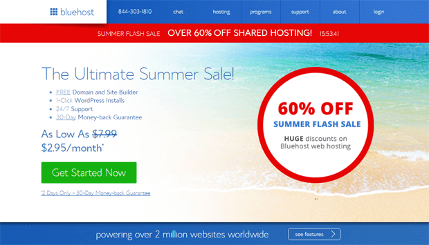 bluehost summer sale promotion 2017