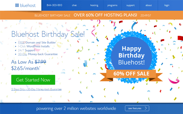 happy birthday bluehost coupon code