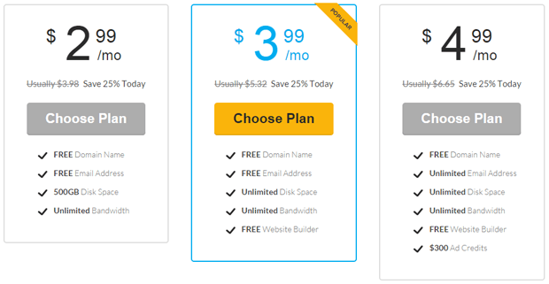 choose web hosting plan from ideahost.com