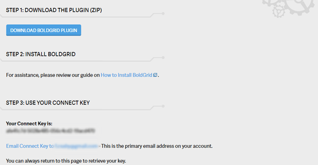 download boldgrid free use connect key