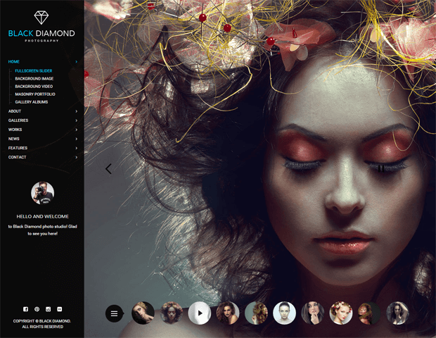 black diamond photography wordpress theme