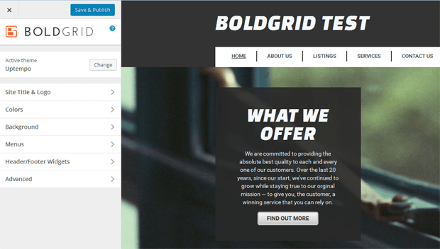 boldgrid customize website