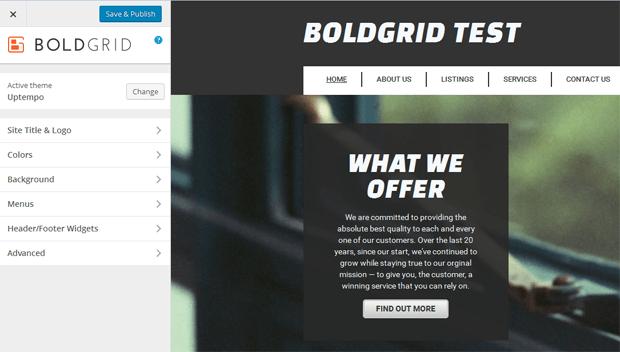 boldgrid customize website