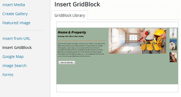 boldgrid insert gridblock layout
