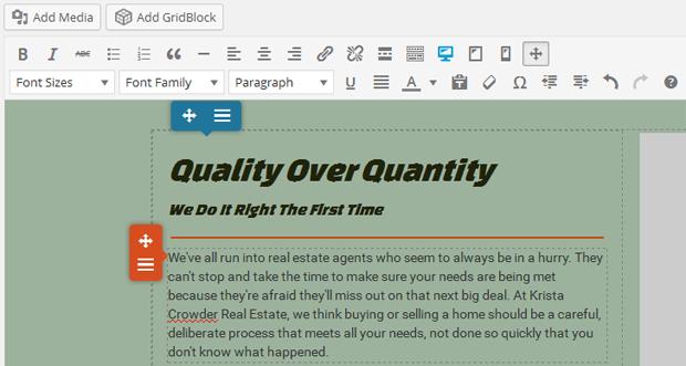boldgrid page editor