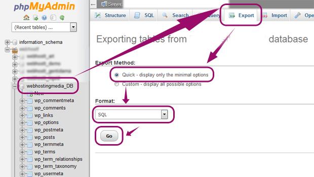 export mysql database cpanel wordpress website transfer