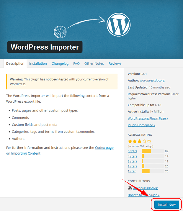 install wordpress importer