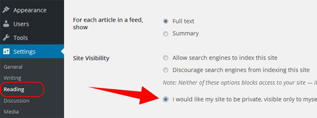setting wordpress com private