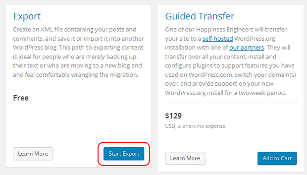 start free export wordpress com