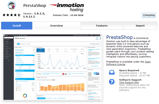 one click install prestashop inmotion hosting