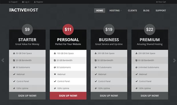 activehost wordpress drag and drop hosting theme
