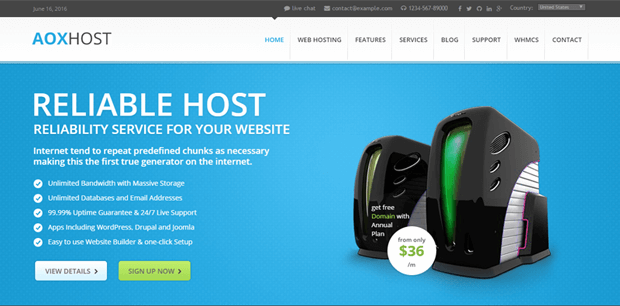 aoxhost professional hosting theme wordpress