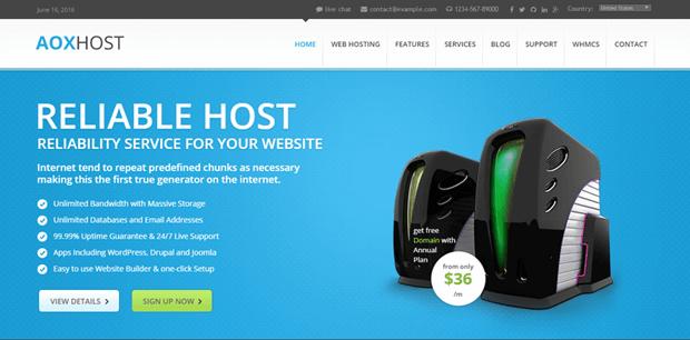 aoxhost professional hosting theme wordpress