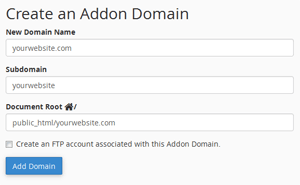 cpanel create addon domains
