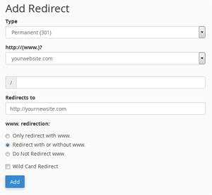 cpanel how to add 301 302 redirects