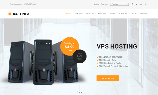 hostline bootstrap powered hosting theme wordpress