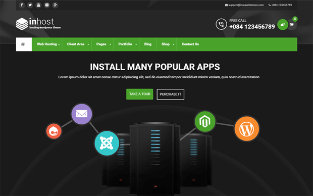 inhost professional whmcs compatible wordpress theme