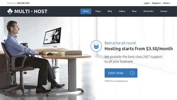 multihost web hosting company theme with page builder