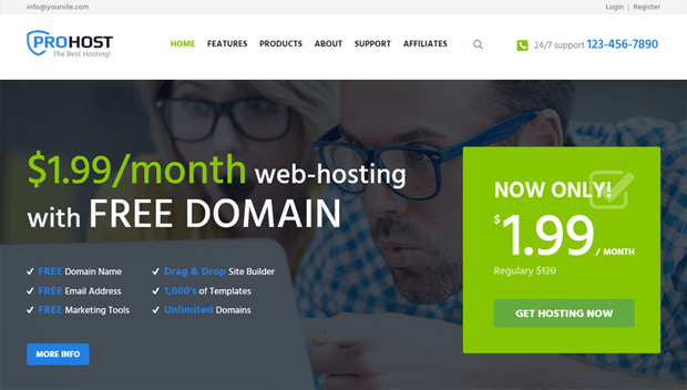 prohost functional modern theme hosting providers