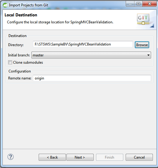 provide local destination folder