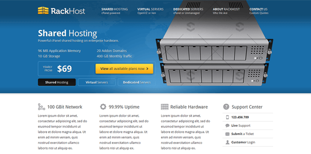rackhost simple professional wordpress theme hosting